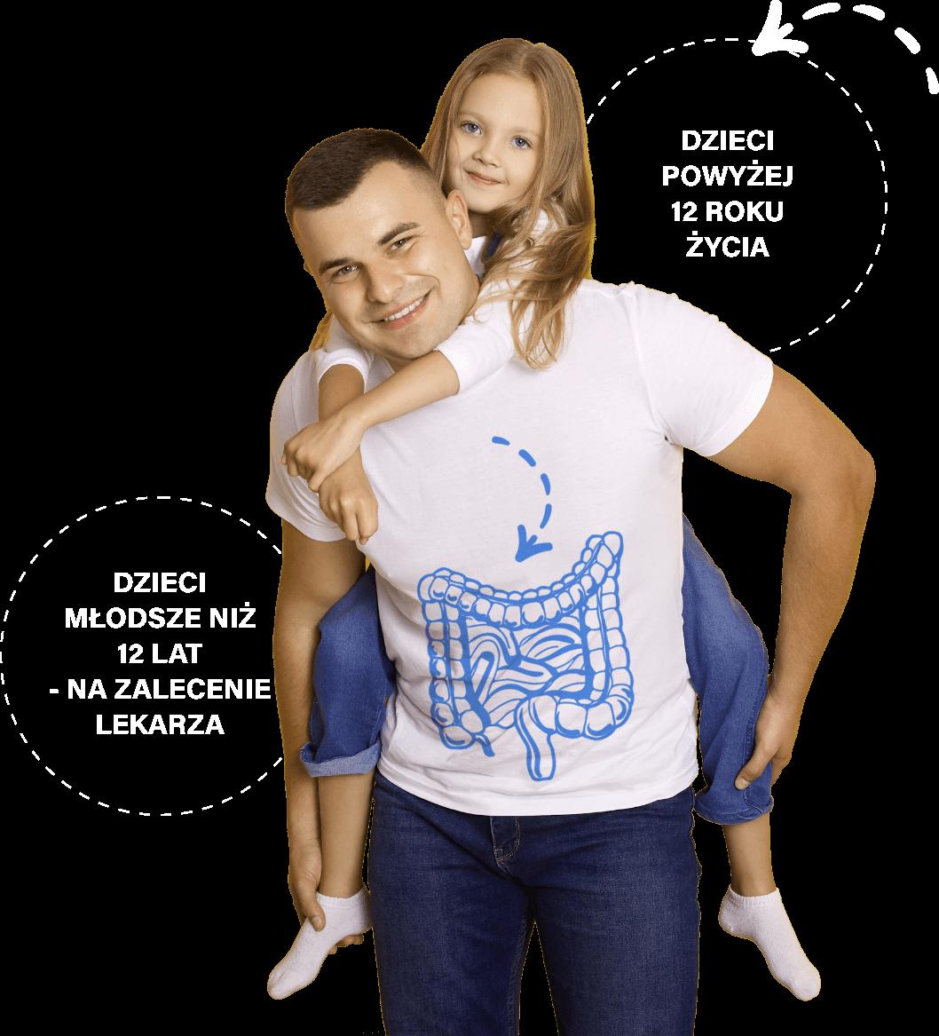 Uśmiechnięty ojciec z córką, informacja: dla dzieci powyżej 12 roku życia, w przypadku dzieci młodszych niż 12 lat - na zalecenie lekarza