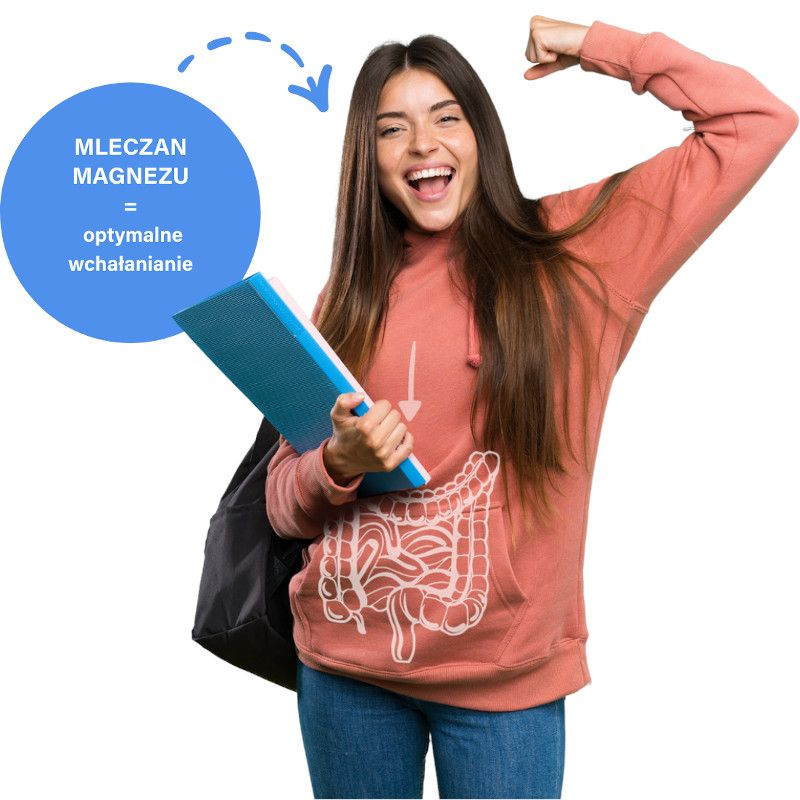 Uśmiechnięta dziewczyna z książką, informacja dodatkowa: mleczan magnezu = optymalne wchłanianie